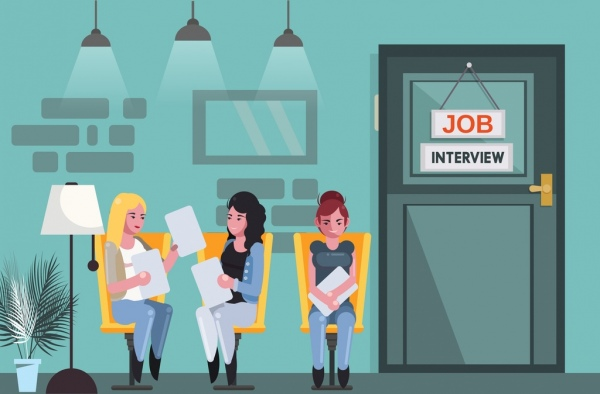 Job interview background waiting candidates icons cartoon design Free vector in Adobe Illustrator ai ( .ai ) format, Encapsulated PostScript eps ( .eps ) format format for free download 3.46MB